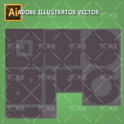 Dungeon Top-Down Game Platfromer - Adobe Illustrator Vector Art Based - 2D Tileable Ground
