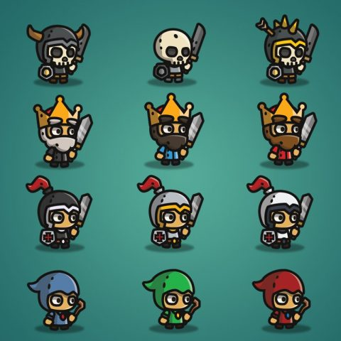 Super Tiny Bundle - 2D Character Sprite - Skeleton - King - Knight - Witcher