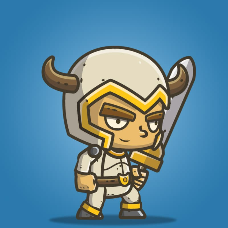 Chibi Knight The White Bull - 2D Character Sprite