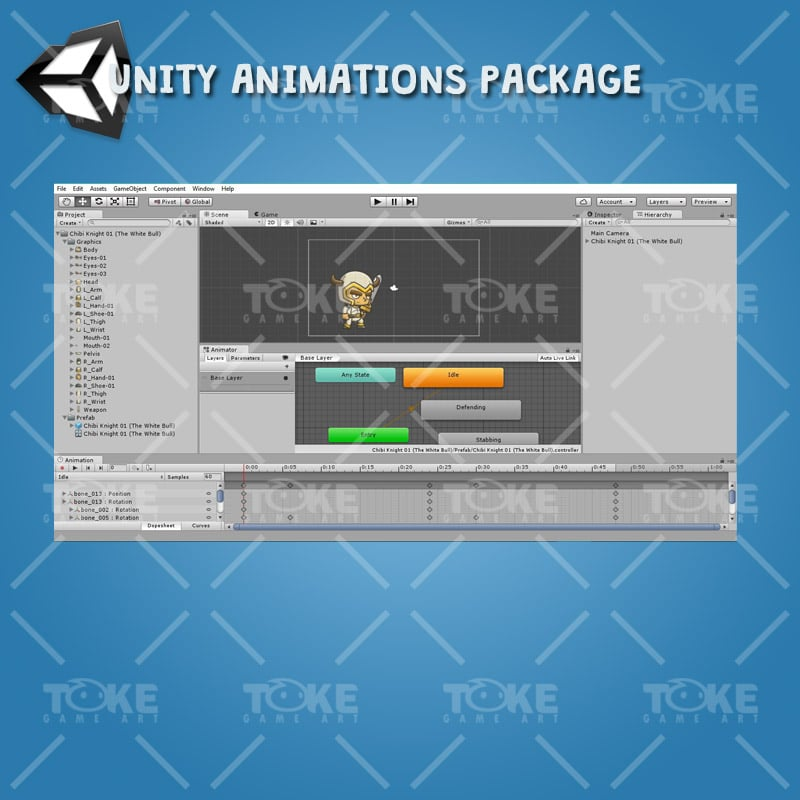 Chibi Knight The White Bull - Unity Animation Ready