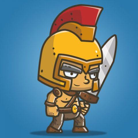 Chibi Knight Golden Helmet - 2D Character Sprite