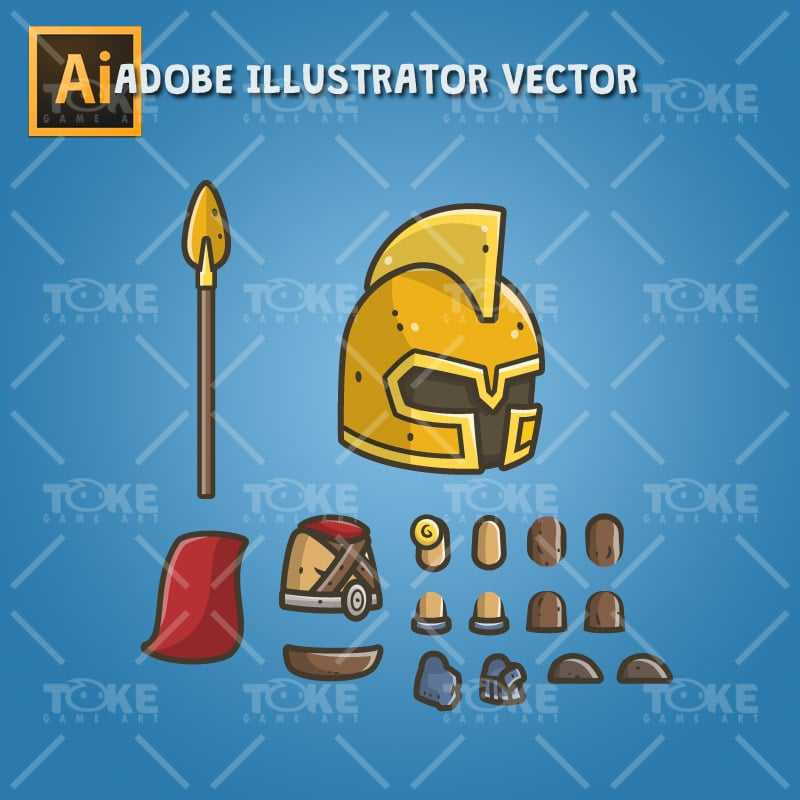 Chibi Knight Gladiator - Adobe Illustrator Vector Art Based