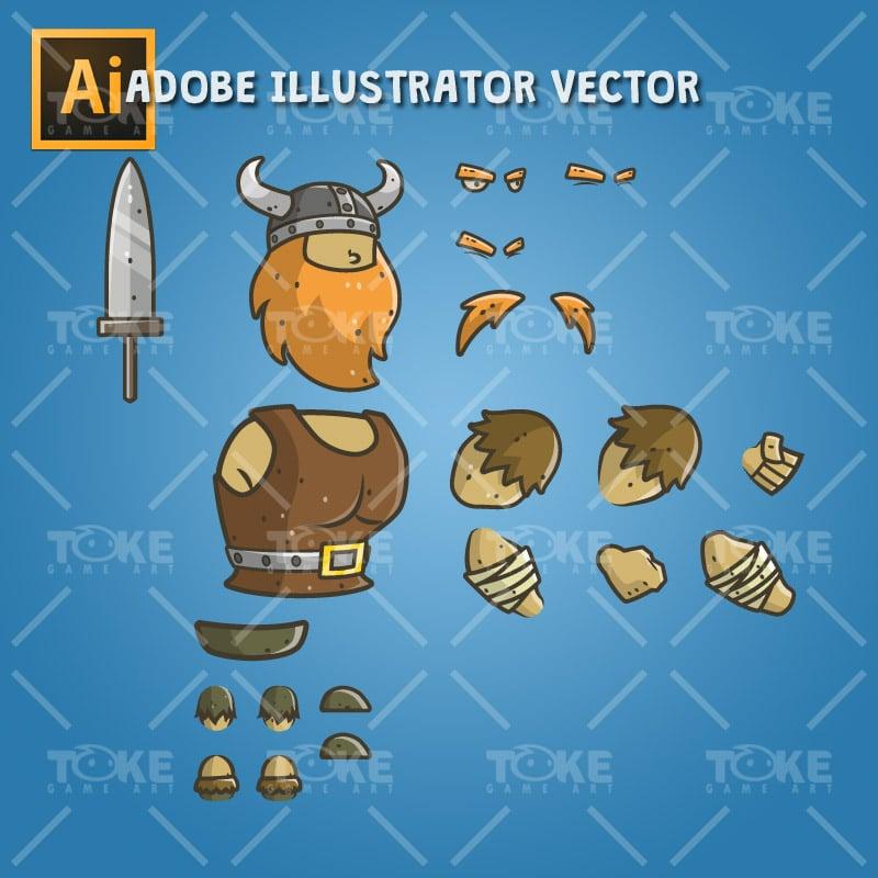 Chibi Muscular Viking - Adobe Illustrator Vector Art Based