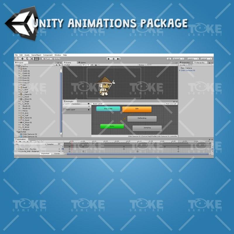 Chibi Samurai Conical Hat - Unity Animation Ready