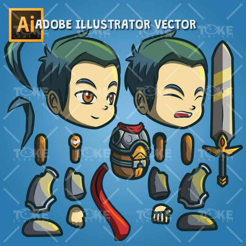 Genki and Dragon Blade - Adobe Illustrator Vector Art Based