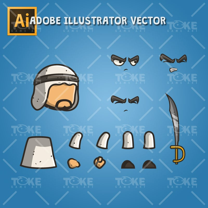 Micro Style Character Arabian Executioner - Adobe Illustrator Vector Art Based