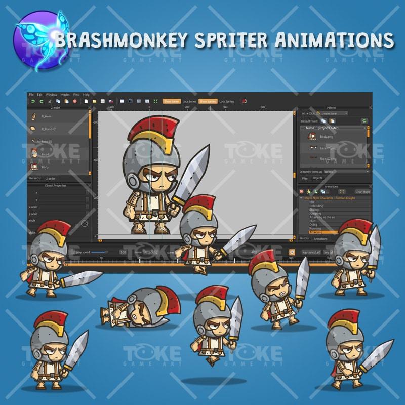 Micro Style Character Roman Knight - Brashmonkey Spriter Animation