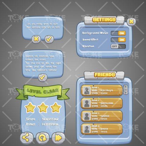 Stone Age Themed Game UI - Adobe Illustrator Vector Art Based