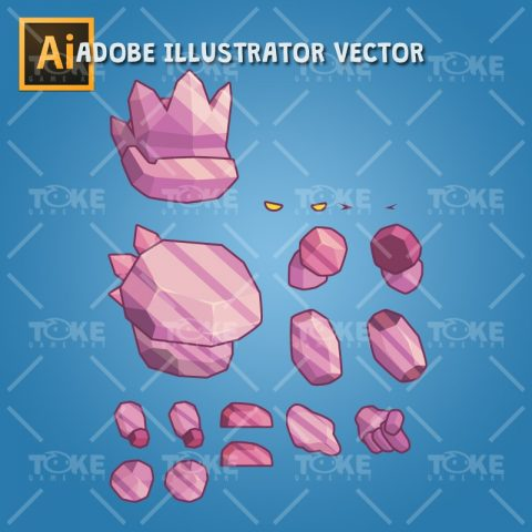 Tiny Crystal Monster – Adobe Illustrator Vector Art Based