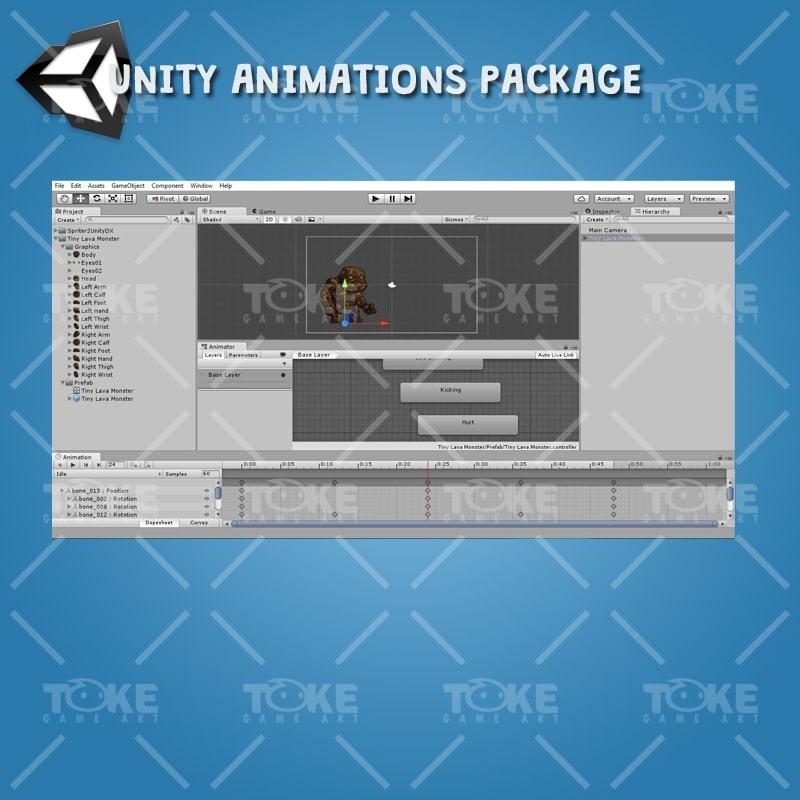 Tiny Lava Monster - Unity Animation Ready