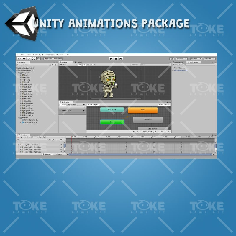 Tiny Cute Mummy – Unity Animation Ready