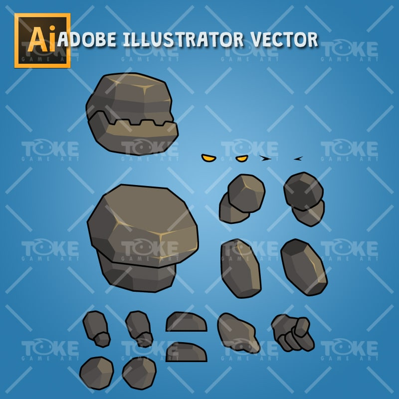 Tiny Rock Monster - Addobe Illustrator Vector Art Based