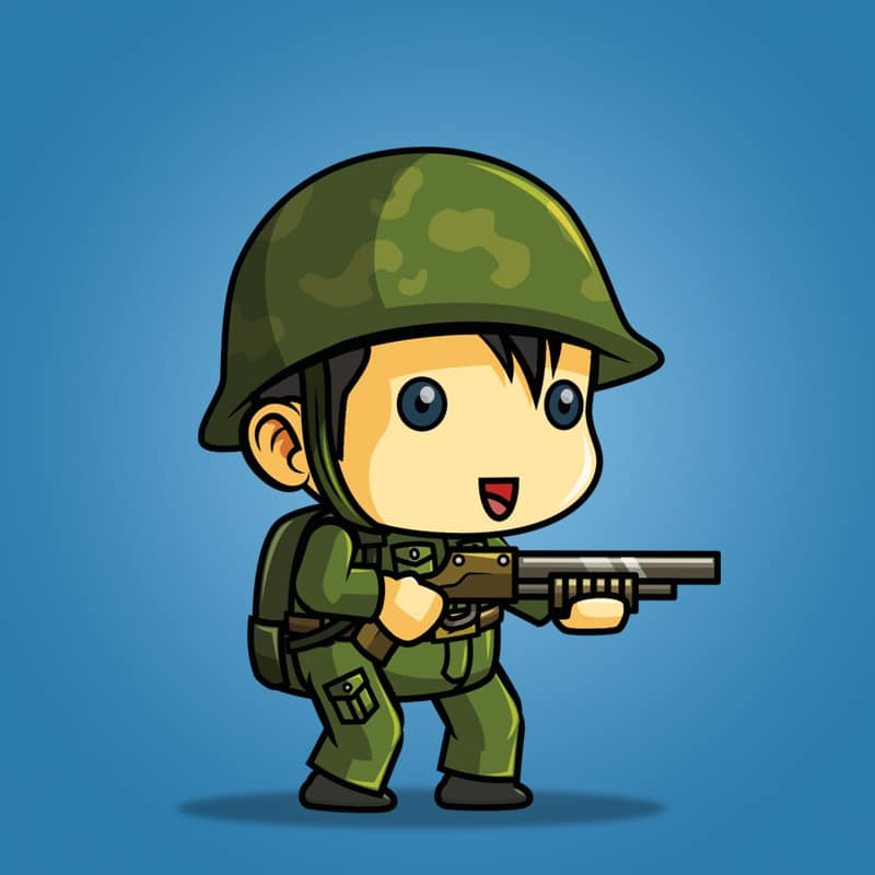 Tiny Chinese Soldier – 2D Character Sprite