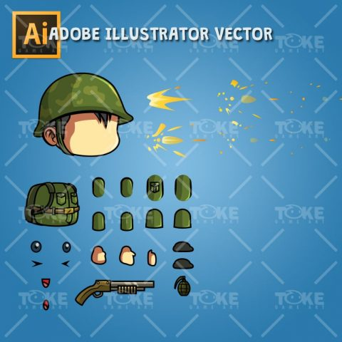 Tiny Chinese Soldier – Adobe Illustrator Vector Art Based