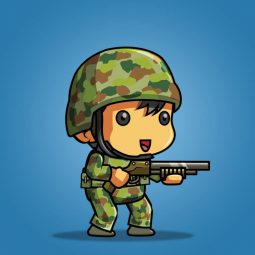 Tiny Australian Soldier – 2D Character Sprite