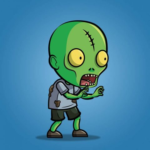 Scar Forehead Zombie - 2D Character Sprite