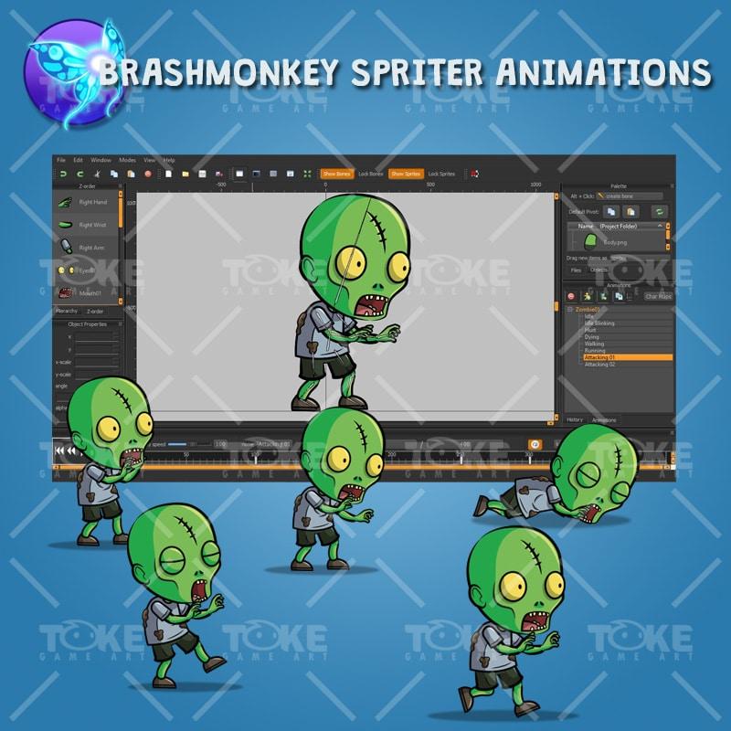 Scar Forehead Zombie - Brashmonkey Spriter Animation