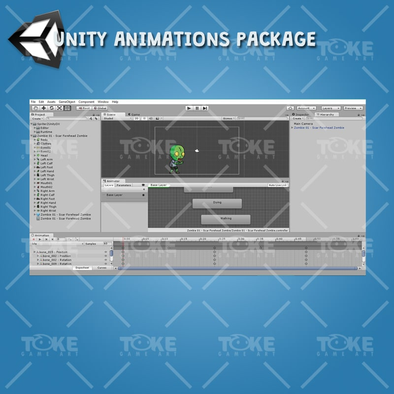 Scar Forehead Zombie - Unity Animation Ready