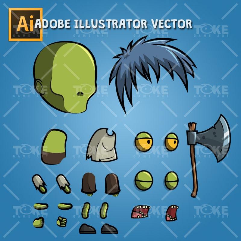 Anime Zombie - Adobe Illustrator Vector Art Based