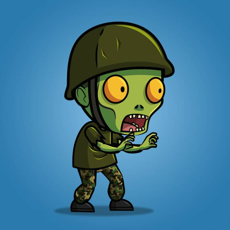 g.i. joe zombie - 2d character sprite - royalty free game art