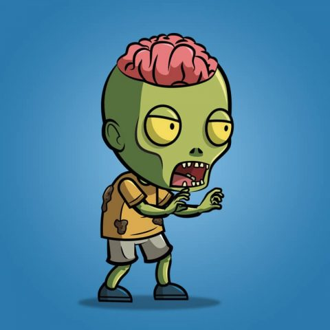 Exposed Brain Zombie - 2D Character Sprite
