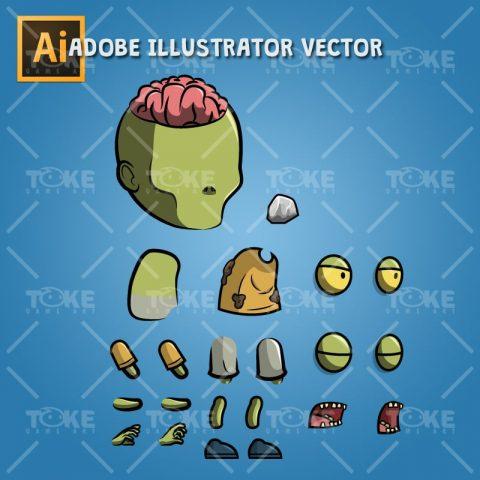 Exposed Brain Zombie - Adobe Illustrator Vector Art Based