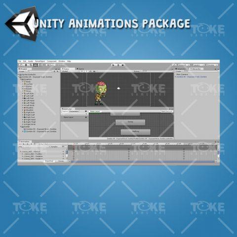 Exposed Brain Zombie - Unity Animation Ready