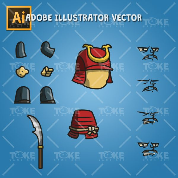 Tiny Armored Samurai - Adobe Illustrator Vector Art Based