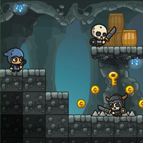 Cartoon Cave Platformer Tileset - 2D Game Platformer