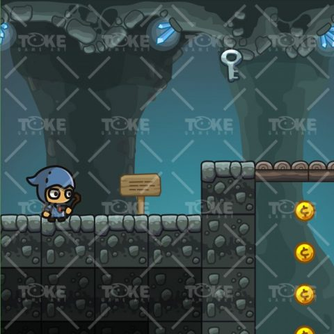 Cartoon Cave Platformer Tileset - Game Preview 01