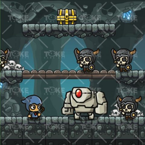 Cartoon Cave Platformer Tileset - Game Preview 03