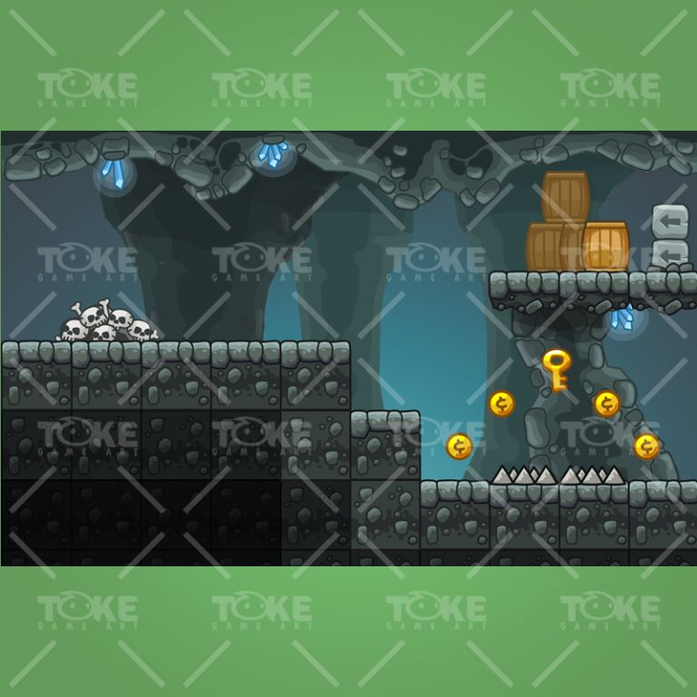 Cartoon Cave Platformer Tileset - Preview 2