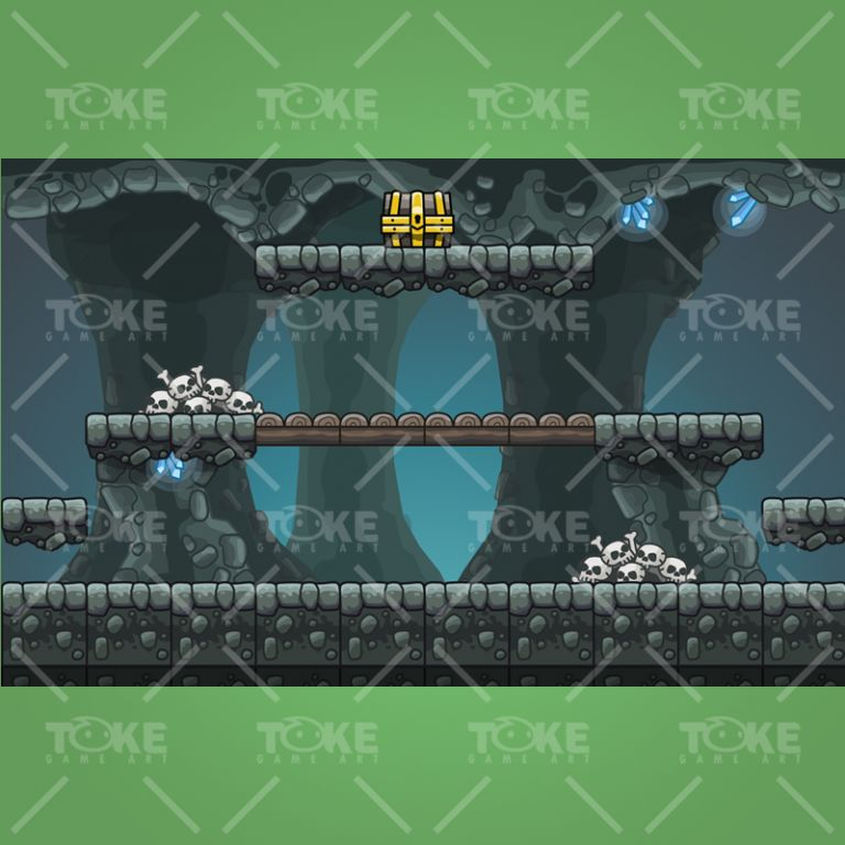 Cartoon Cave Platformer Tileset - Preview 4