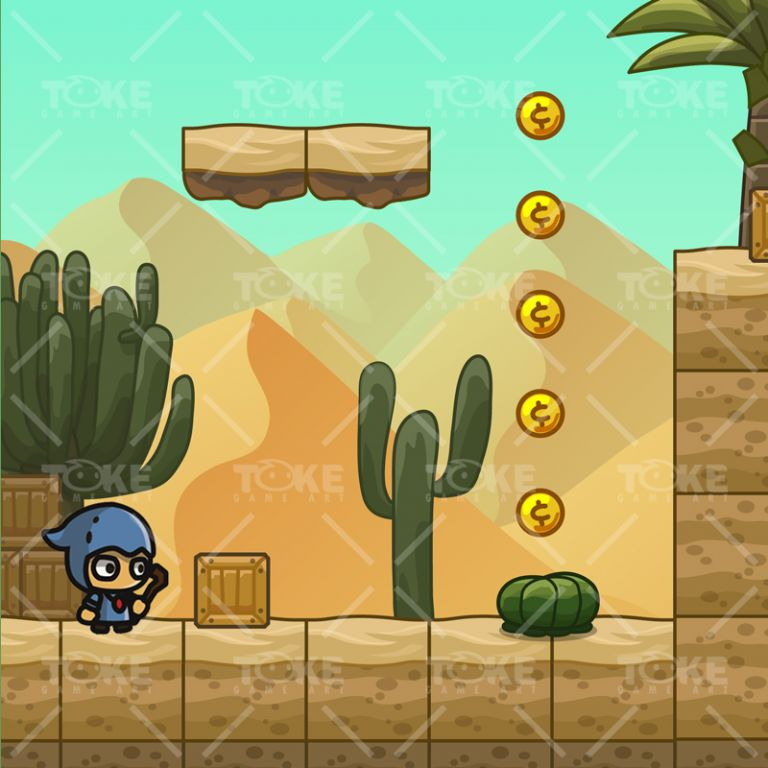Cartoon Desesrt Tileset - 2D Game Platformer Tileset - Game Preview 01