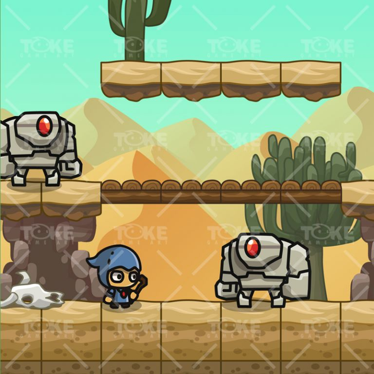 Cartoon Desesrt Tileset - 2D Game Platformer Tileset - Game Preview 04