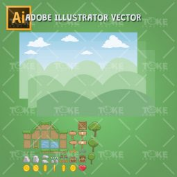 Cartoon Town - Vector Art Based Game Tileset