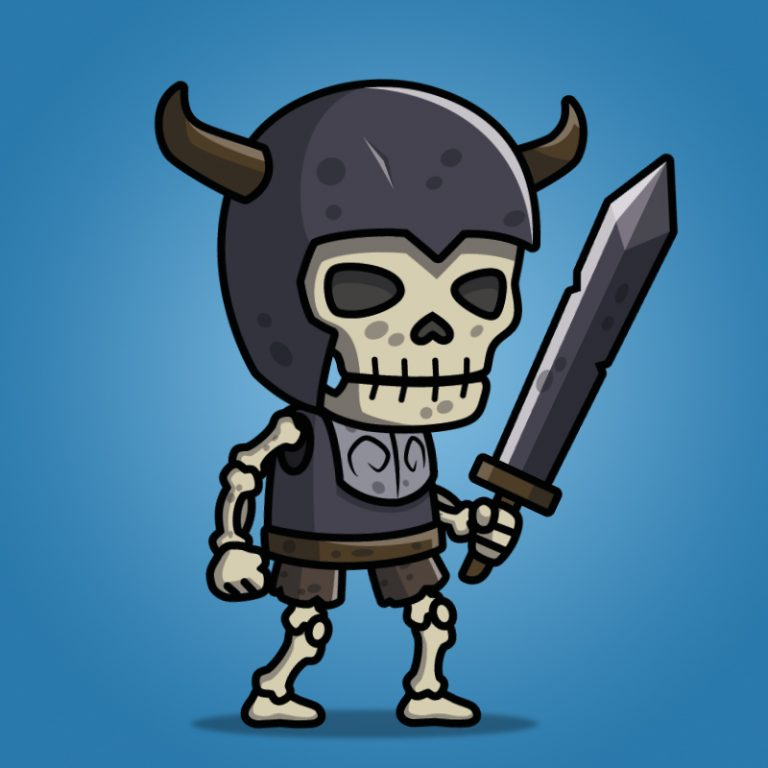 skull knight - 2d character sprite - royalty free game art