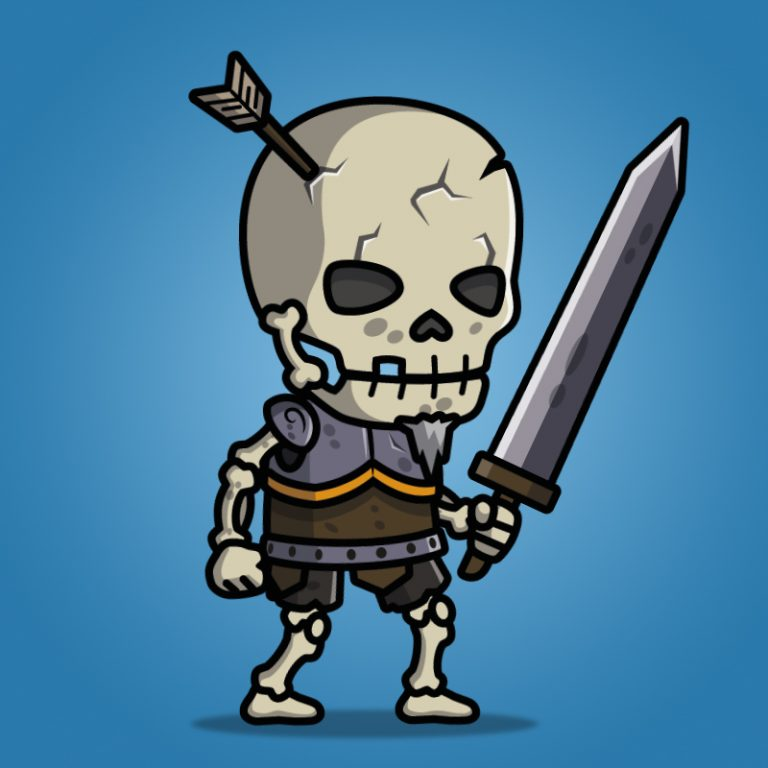 skull warrior - 2d character sprite - royalty free game art