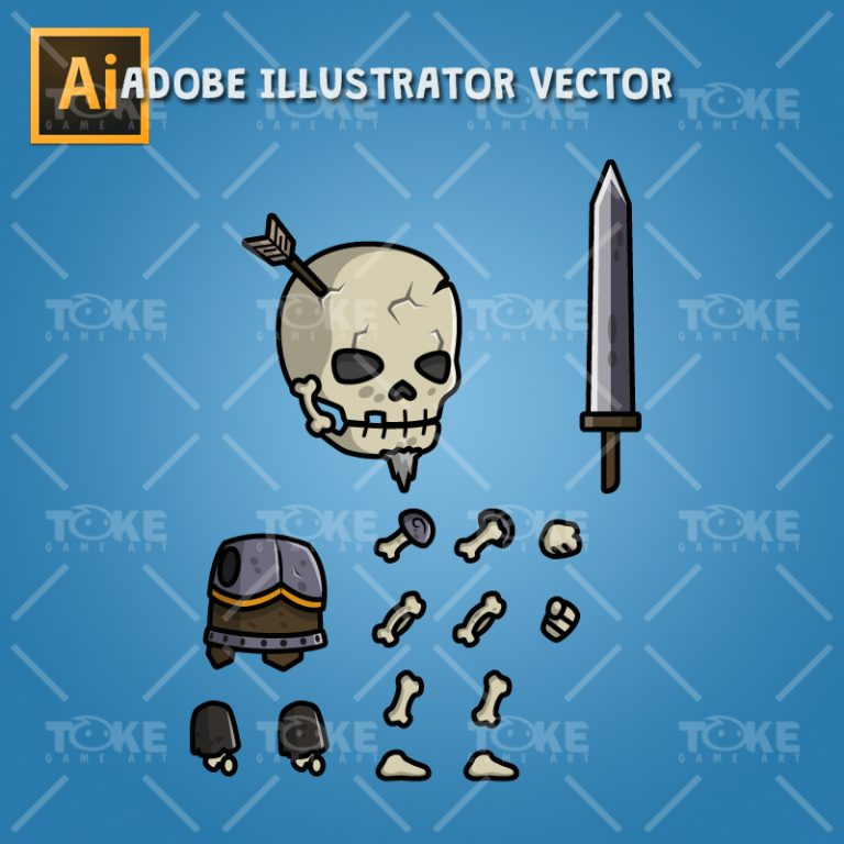 Skull Warrior - Adobe Illustrator Vector Art Based