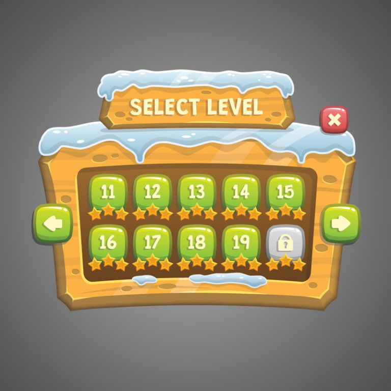 Snowy Game UI - GUI Game Asset - Royalty Free Game Art