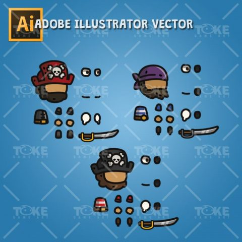 Tiny Character Style - Pirate - Adobe Illustrator Vector Art Based
