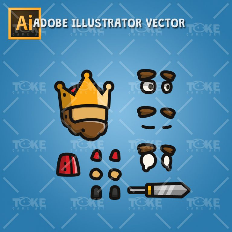 Tiny Style Character - King - Adobe Illustrator Vector Art Based