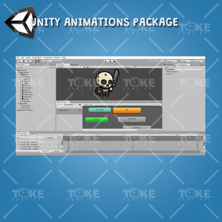 Tiny Style Character Skull - Unity Animation Ready