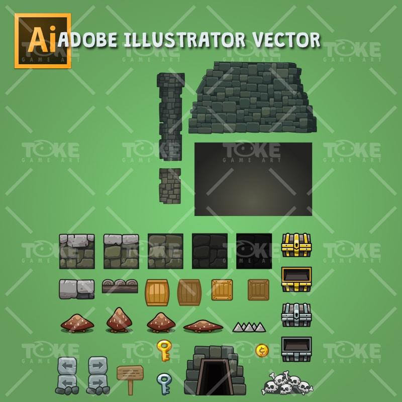 Cartoon Dungeon Platformer Tileset - Adobe Illustrator Vector Art Based