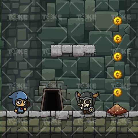 Cartoon Dungeon Platformer Tileset - Game Preview 02