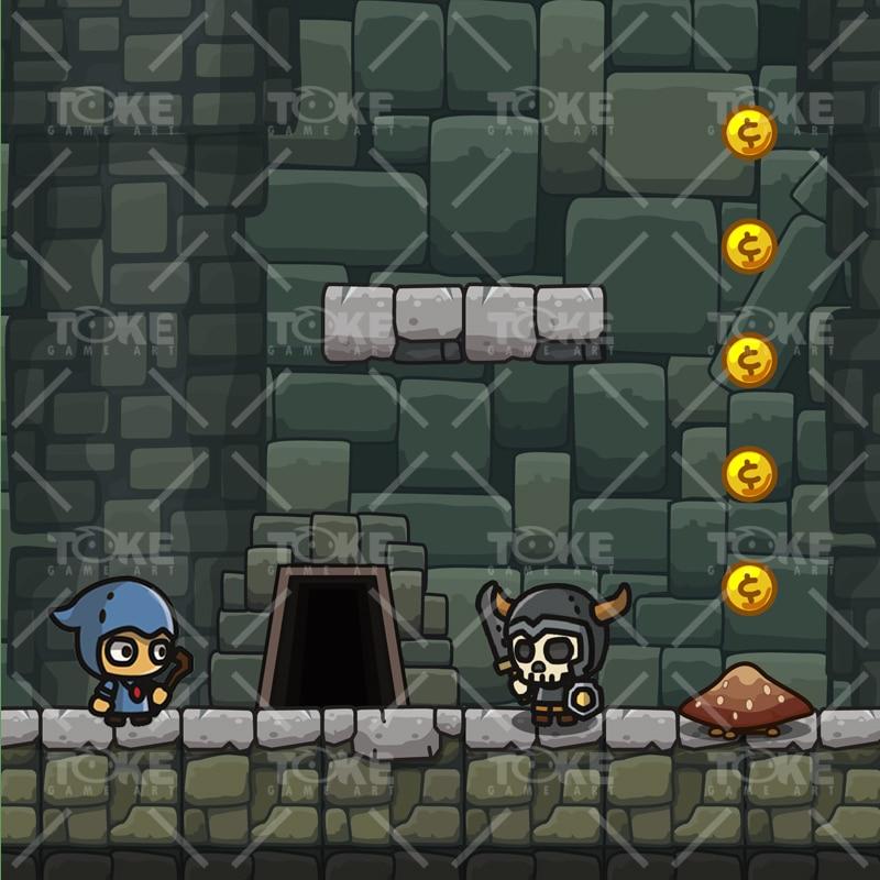 Cartoon Dungeon Platformer Tileset - Game Preview 02