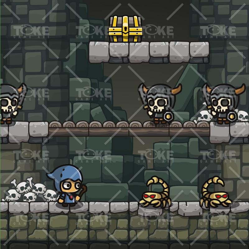 Cartoon Dungeon Platformer Tileset - Game Preview 03
