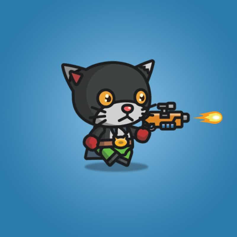 Super Black Cat - 2D Character Sprite