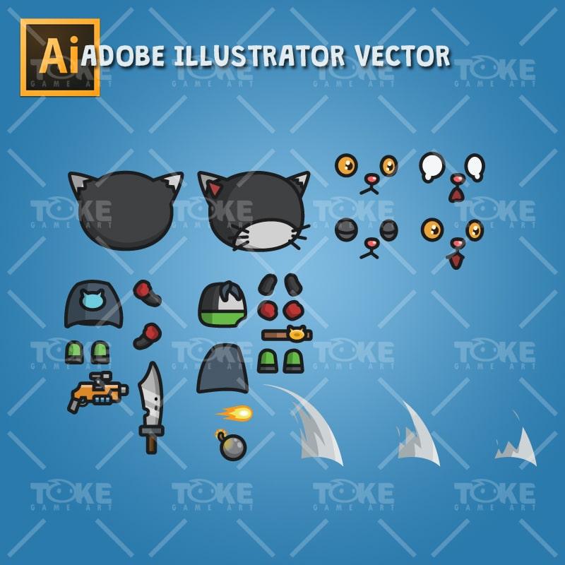 Super Black Cat - Adobe Illustrator Vector Art Based