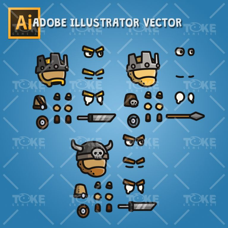 Tiny Style Character - Barbarian - Adobe Illustrator Vector Art Based